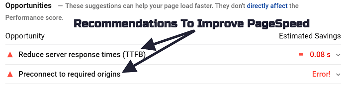 PageSpeed Insights - Improvement Recommendations