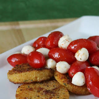 Fried Polenta Cakes with Grilled Tomato and Mozzarella Salad.