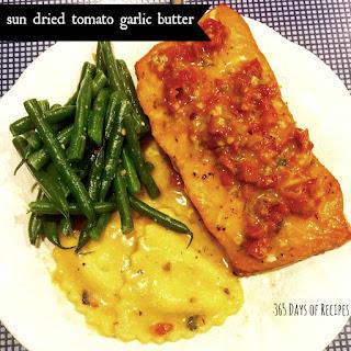 Savory Sun-dried-tomato-garlic-butter Over Salmon.