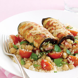 Stuffed Eggplant Rolls with Couscous and Chickpea Salad