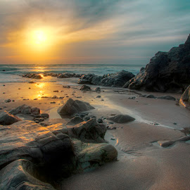 Sunset on the rocks by Neil Choopani - Landscapes Beaches ( water, sunset, sea, seascape, landscape, rocks )