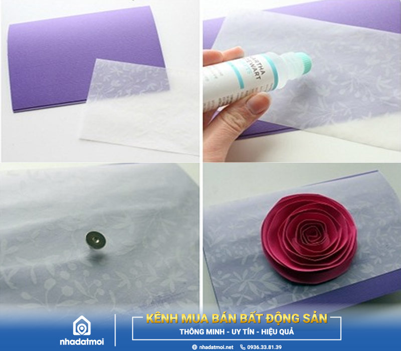 Tạo thiệp bằng giấy bìa tím, giấy trong và gắn hoa hồng lên
