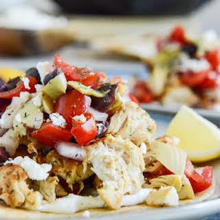 Marinated Greek Chicken Tostadas.