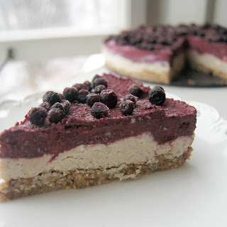 Raw Vegan Blueberry Lemon Layered Cheesecake