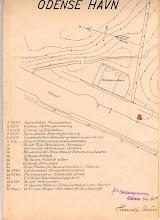 Photo: Odense Havn 1915. Odense Roklubs placering er angivet med rødt. Adressen var Norges Kaj og den lå hvor den store FAF-bygning i dag ligger.