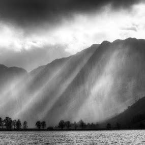 Buttermere by Phil Portus - Landscapes Mountains & Hills ( shafts, trees light, black white, landscape, lake district, buttermere, black and white, b and w, b&w, monotone, mono-tone )