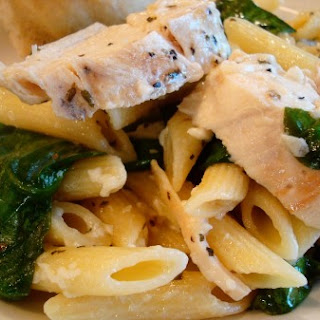 Garlic Chicken Pasta with Spinach.