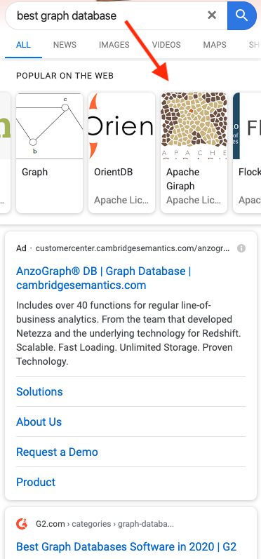 "Google mobile search results for ""best graph database"""