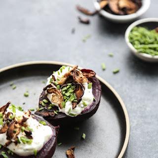 Baked Potato Beets with Garlicky Yogurt and Shitake Bacon.