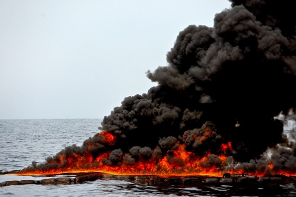 Burning oil in a BP spill in the Gulf of Mexico in 2010. ESG-focused investments aim to avoid exposure to share price pitfalls from such disasters. Picture: BLOOMBERG