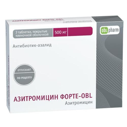 Азитромицин форте-OBL таб.п/о 500мг №3