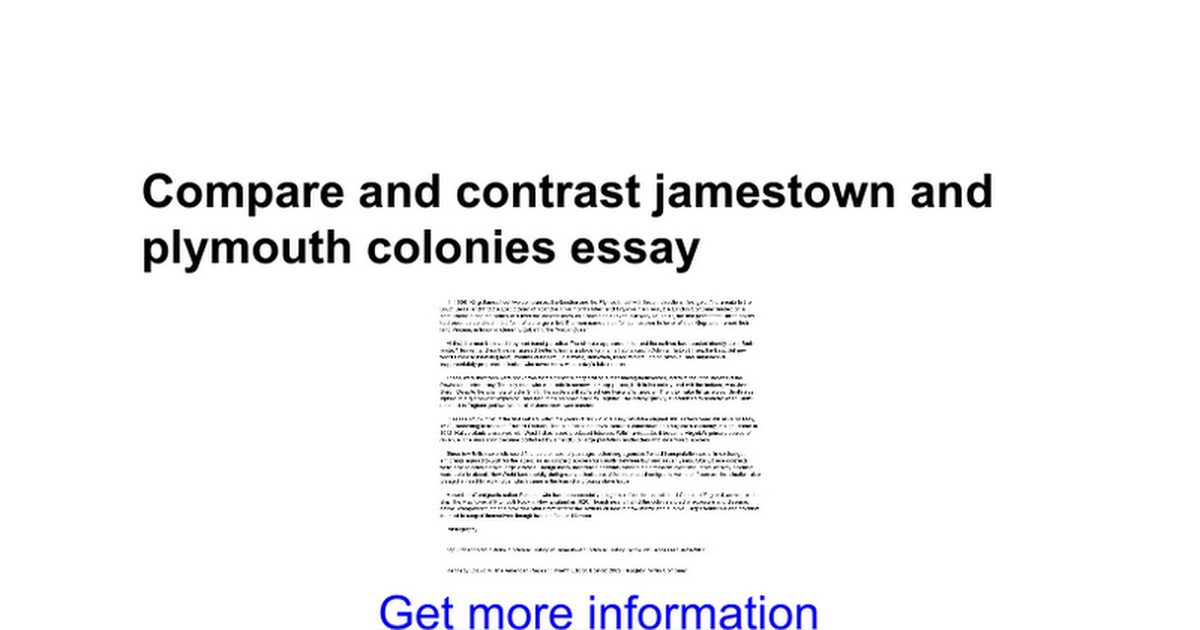 compare and contrast jamestown and plymouth colonies essay compare and contrast jamestown and plymouth colonies essay google docs