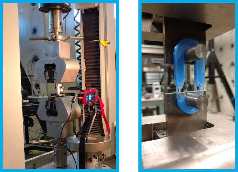 Figure 7. New specimen design loaded in MTS QTest 150 tensile testing machine. View of the custom loading pins in the MTS machine (left) and post-testing PETG specimen (right).