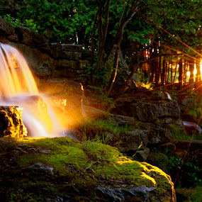 cascade at Andrew Haydon park by Joseph Balson - Landscapes Waterscapes ( atmosphere, nature, light streak, waterfall, sunset - sunrise, style, water, landscape, mist,  )