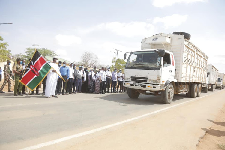 Mandera Governor Ali Roba when he launched the relief food distribution for drought response across all six constituencies.