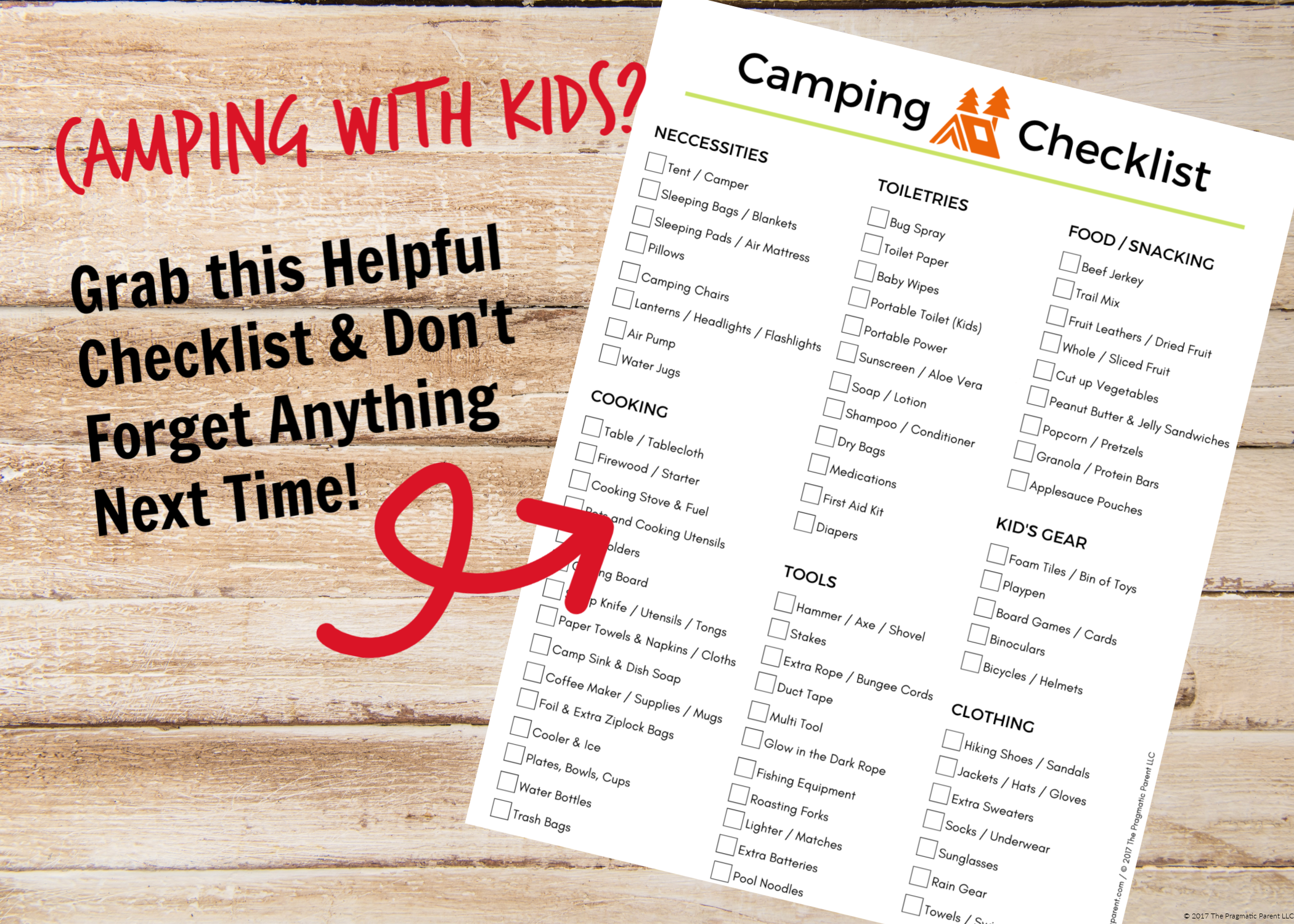 Get your camping with kids printable checklist