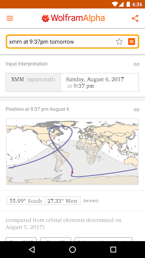 Screenshot 4 for Wolfram Alpha's Android app'