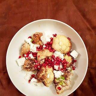Spiced Roasted Cauliflower With Feta And Pomegranate.