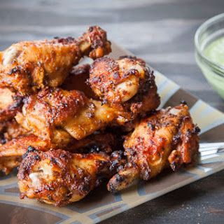 Peruvian Chicken Wings with Peruvian Green Sauce.