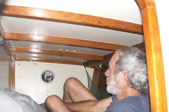 Photo: Michael in the guest cabin bunk