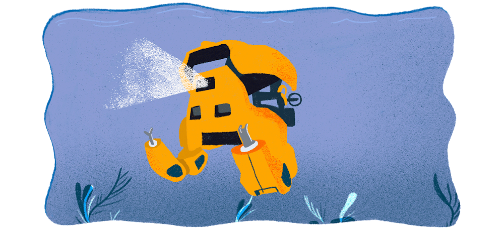 An AI-empowered robot swims beneath the sea, shining its headlight to explore the ocean floor.