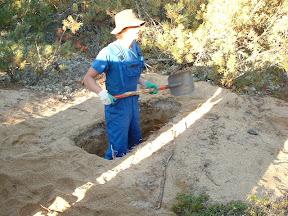 So mussten wir nur eine neue Grube ausheben, die Hütte umsetzen und die alte vollgelaufene Grube mit Erdreich bedecken.