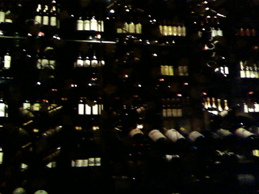 We sat at a long table along this wine cellar/display.