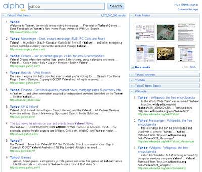 Персональный поиск от Yahoo!