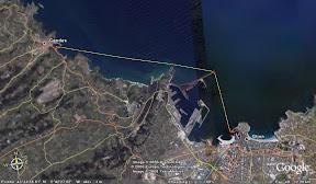 El recorrido, 10.5kms en linea recta.