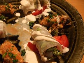 ボタンエビの生春巻と牡蠣の南蛮揚
