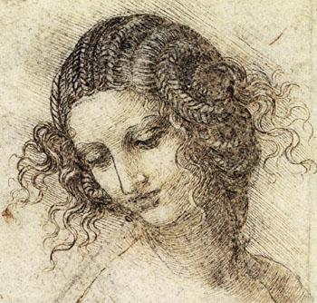 Leonardo da Vinci, head of a woman