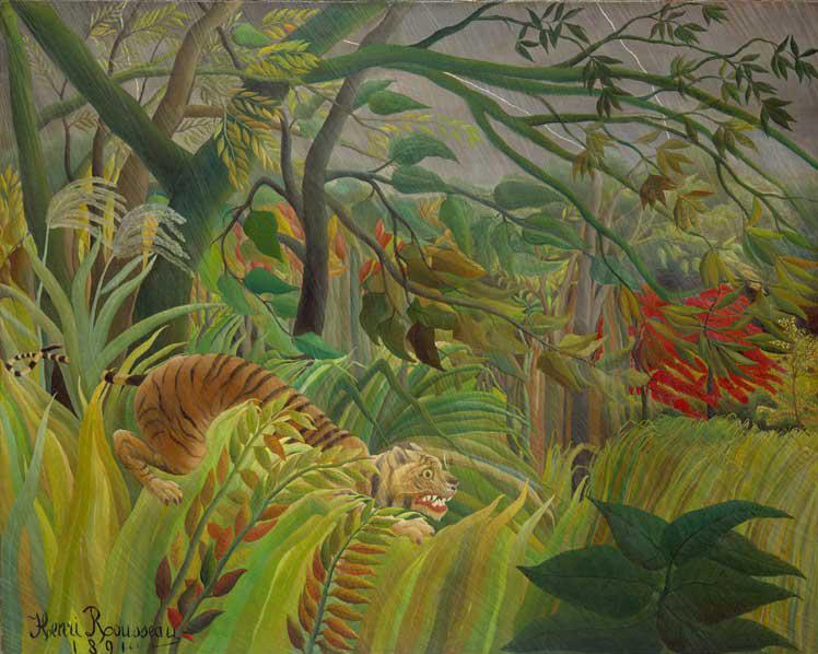 Henri Rousseau, tiger in a tropical storm