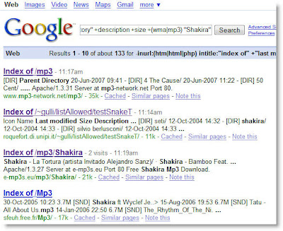Tech Dreams: Locating MP3 and Video files using Google Search Engine