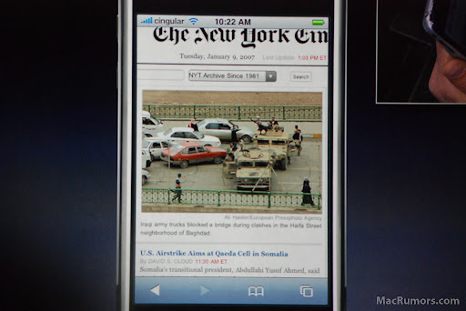iPhone - Site The New York Times no Safari