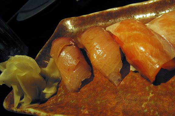 yellowtail and salmon sashimi