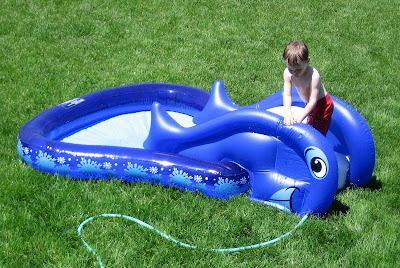 BigE on the new inflatable pool