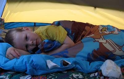 BigE in his Diego sleeping bag