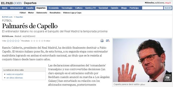 El País sentencia a Capello