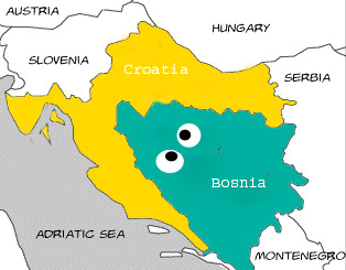 """Hey, it looks like Croatia's eating Bosnia!"