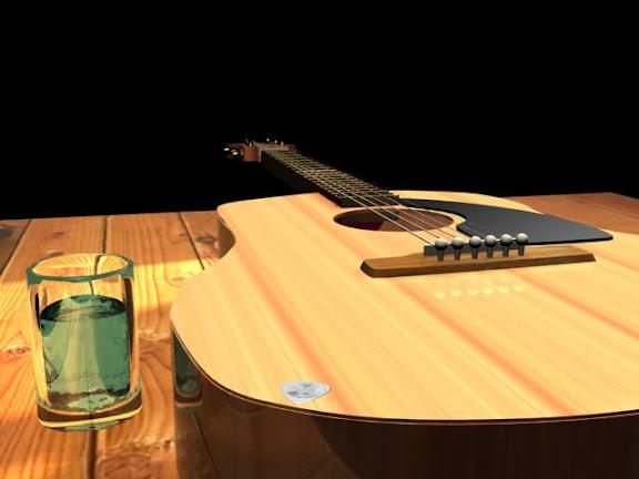 guitar,bottle,吉他和玻璃杯