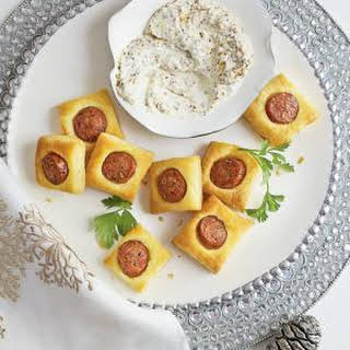Chicken Sausage Puffs with Creamy Mustard Dipping Sauce.