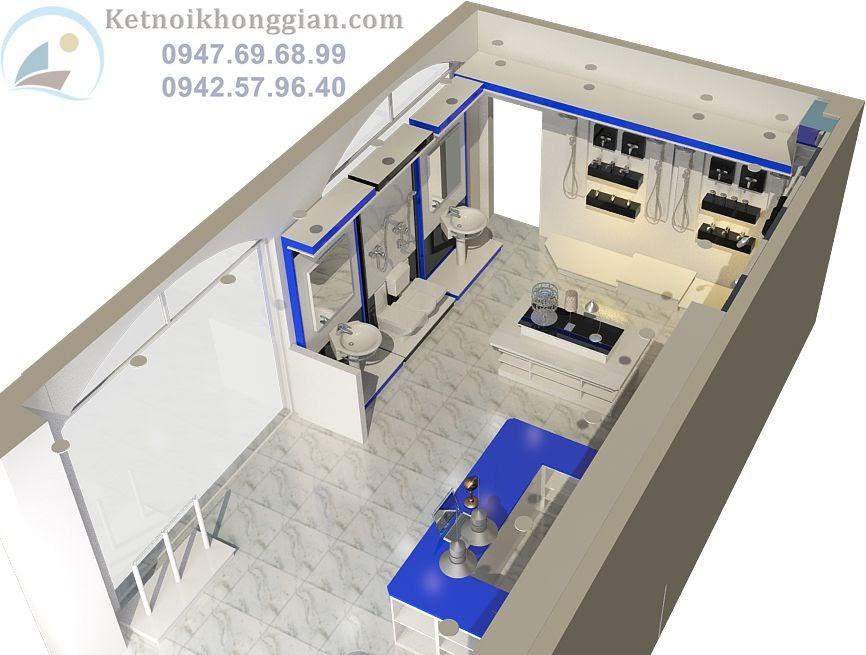 thiết kế cửa hàng thiết bị điện nhà vệ sinh
