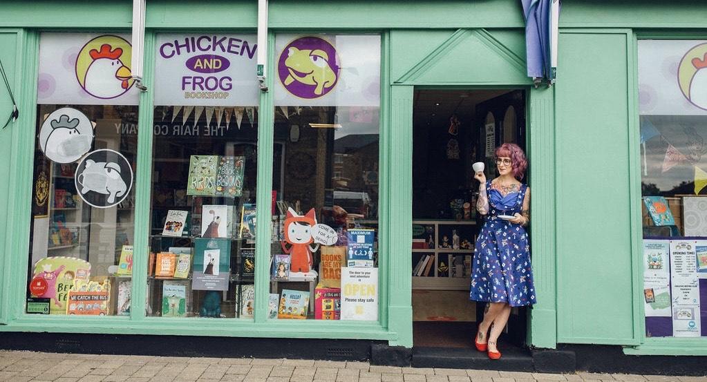 Natasha Radford in front of Chicken and Frog Bookshop