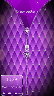 Purple Diamond Flower Zipper Lock Pattern - náhled