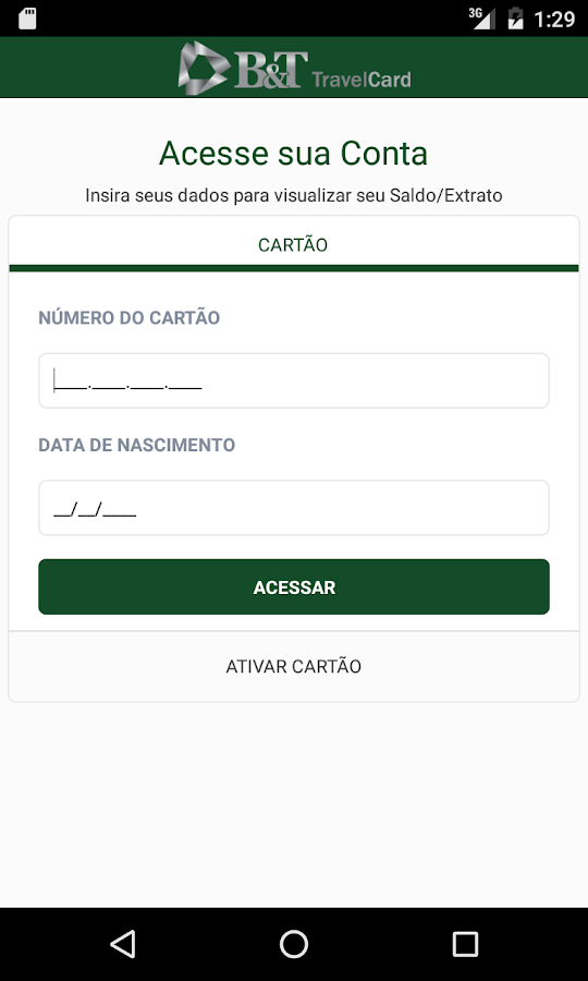B&T TravelCard: captura de tela