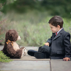 Important Meeting by A. Caracciolo - Babies & Children Child Portraits ( bear, meeting, suit, toddler, boy )