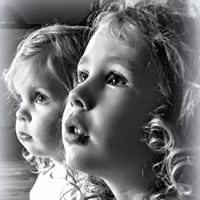 Pookie and Rosie by Michael Smith - Black & White Portraits & People ( girls, black and white, cousins, kids, profile )