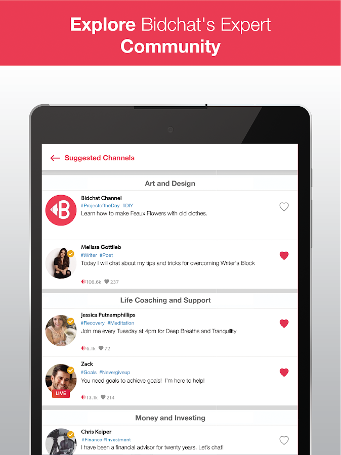 Bidchat: Video Chat with Experts and Influencers- screenshot