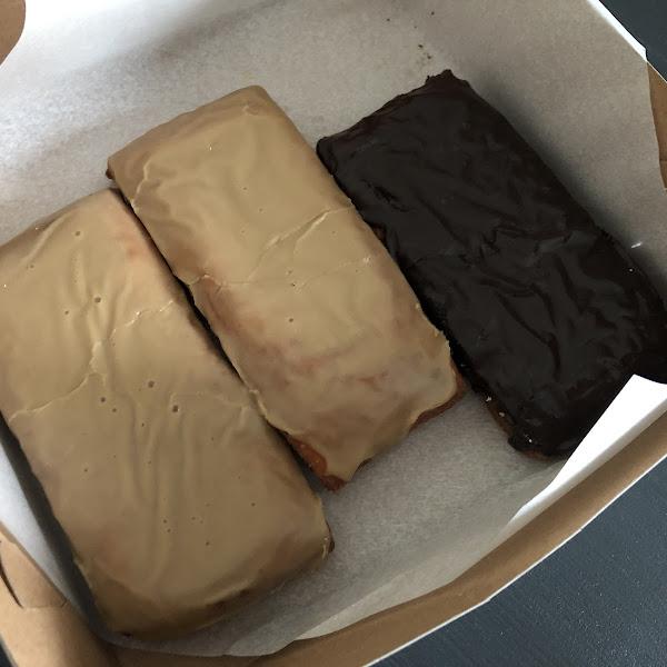 Maple bar and chocolate bar doughnuts