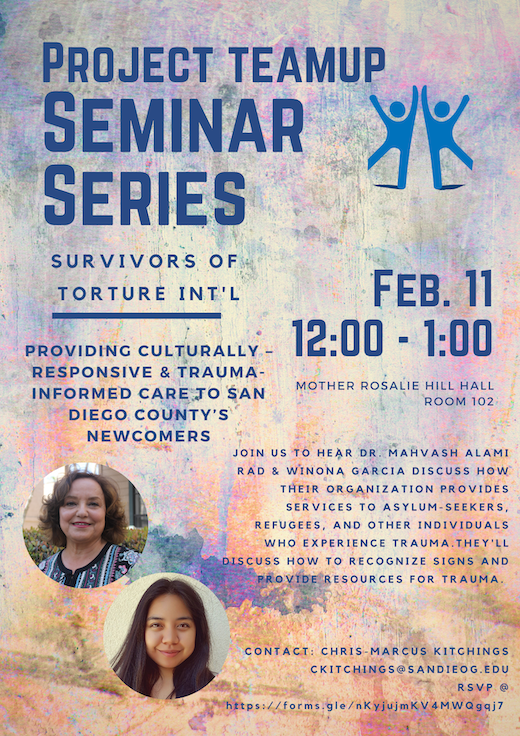 Project Teamup Seminar Series: Feb 11 from 12pm-1pm in MRH 102